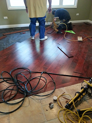 Olson Rug install a wood floor